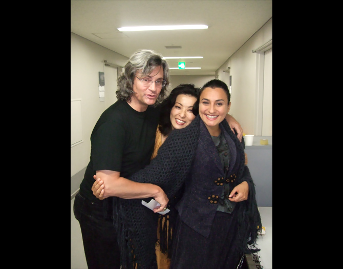 Backstage with stage director, Lorenzo Mariani and soprano Carmela Remigio